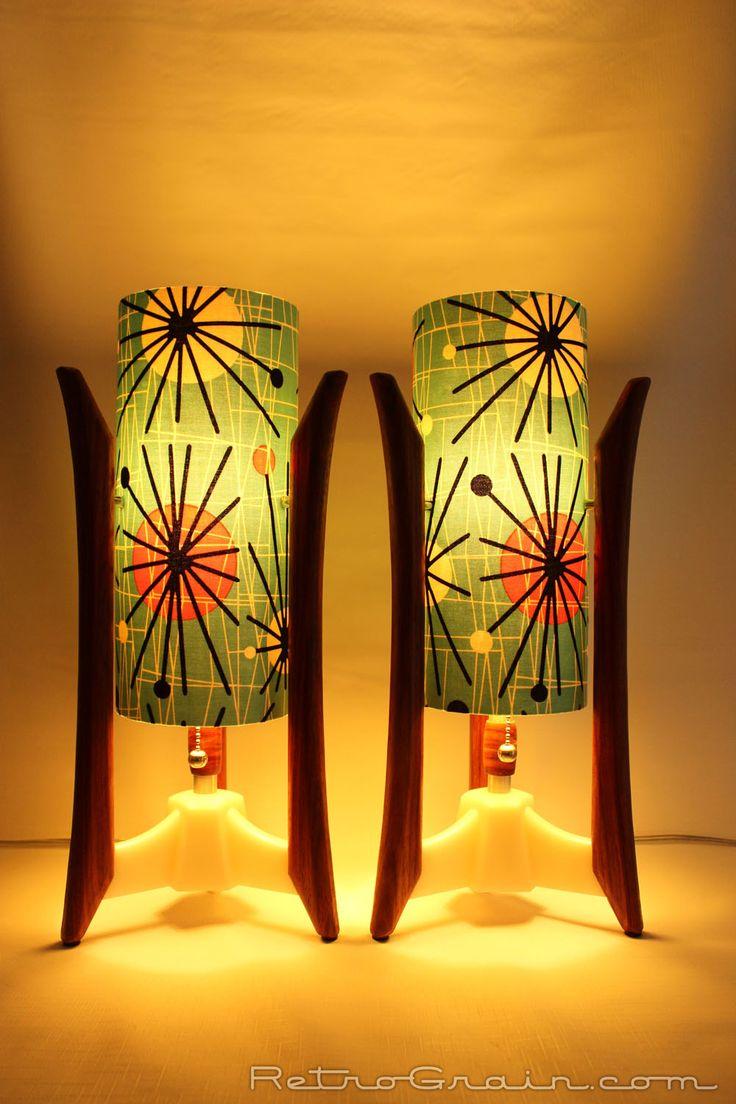 Pair of Retro Grain Mid-century style table lamps. RetroGrain.com  African Padauk wood, white base, atomic teal shades.