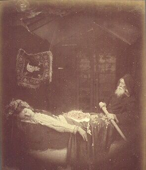 Elaine in the Barge: Julia Margaret Cameron (1875)