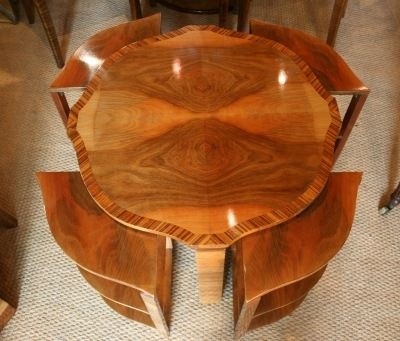 Art deco side table with 4 nested shelved tables, C1930.
