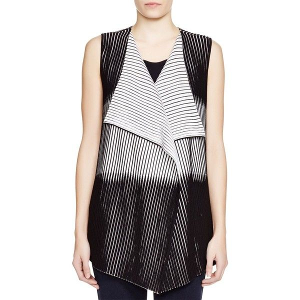 Lafayette 148 New York Striped Knit Vest ($285) ❤ liked on Polyvore featuring outerwear, vests, striped vest, vest waistcoat, lafayette 148 new york, black and white vest and black and white striped vest