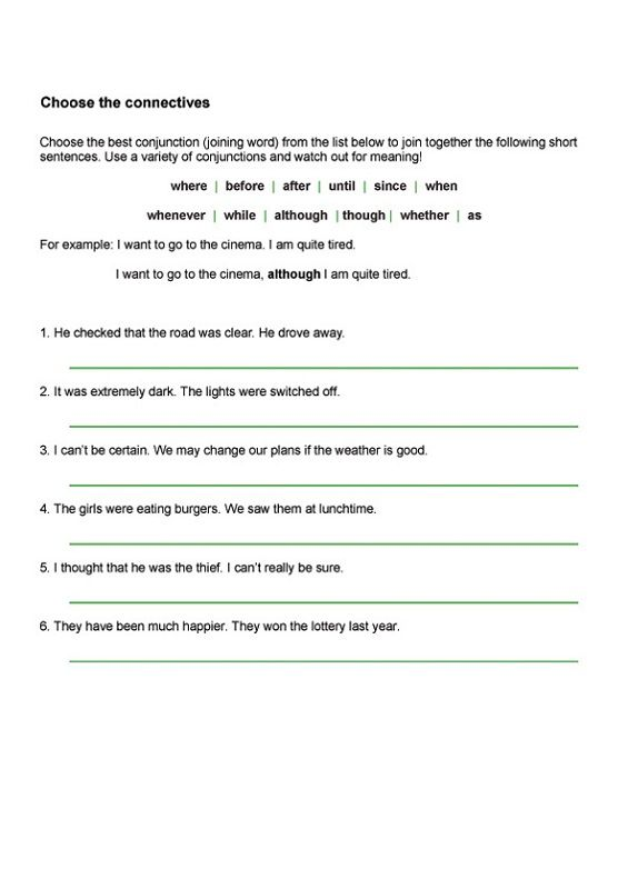 Ks2 English Worksheets Conjunctions | Learning Printable | Key Stage ...