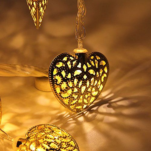 Veesee LED Heart-shape Dancing Fairy String lights for Christmas Thanksgiving Wedding Party (Gold) *** See this great image @