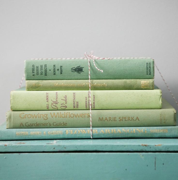 vintage green books.