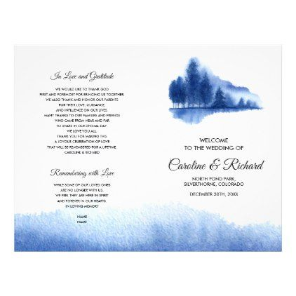 Blue Winter Forest Folded Wedding Programs - winter wedding diy marriage customize personalize couple idea individuel