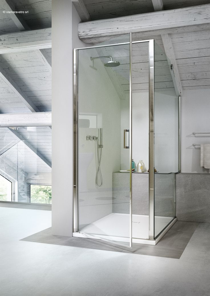 @vismaravetro attempts to integrate #modern #minimalist #design of shower enclosure into the nordic aesthetic of traditional form. Linea #shower #glass #door