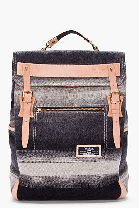 MASTER-PIECE Co // Gray Striped Woolrich Backpack.