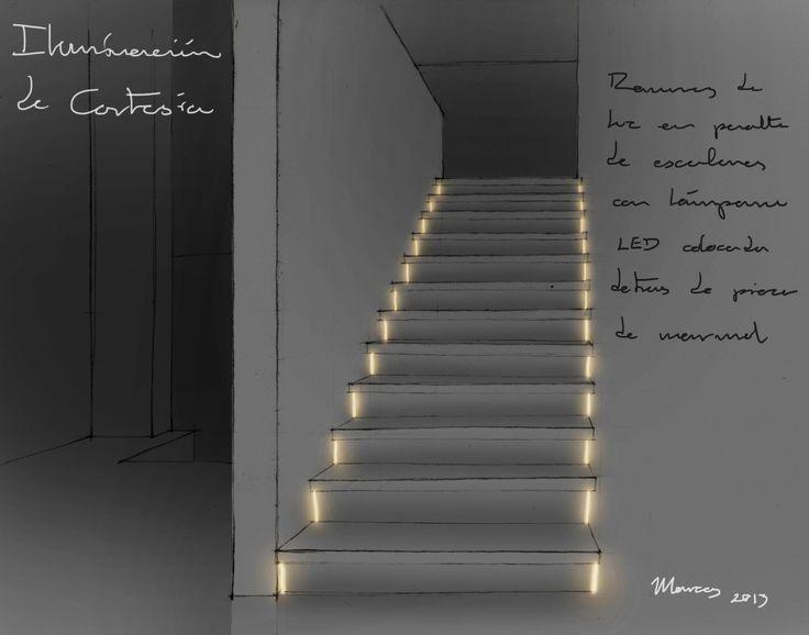 Iluminaci n de cortes a para una escalera en un proyecto - Escaleras de mano ...