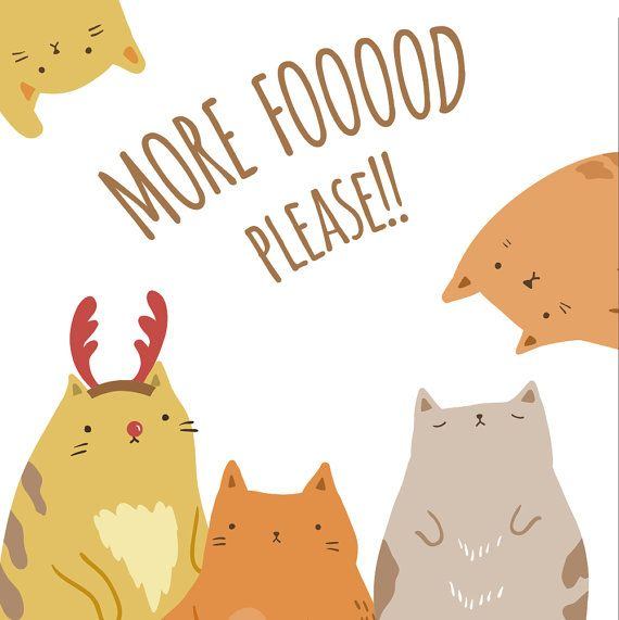 10 Hand Drawn Fat Cats Vector Clipart by glomglom on Etsy