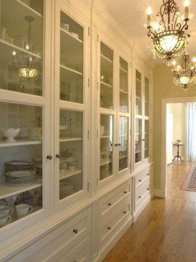 Solid doors for pantry side of butlers pantry, cabinet design