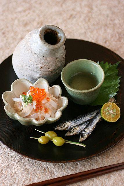 Sake and Cuttlefish sashimi with white gourd-melon and umeboshi dressing, Grilled dried sardine, Roasted ginkgo nuts