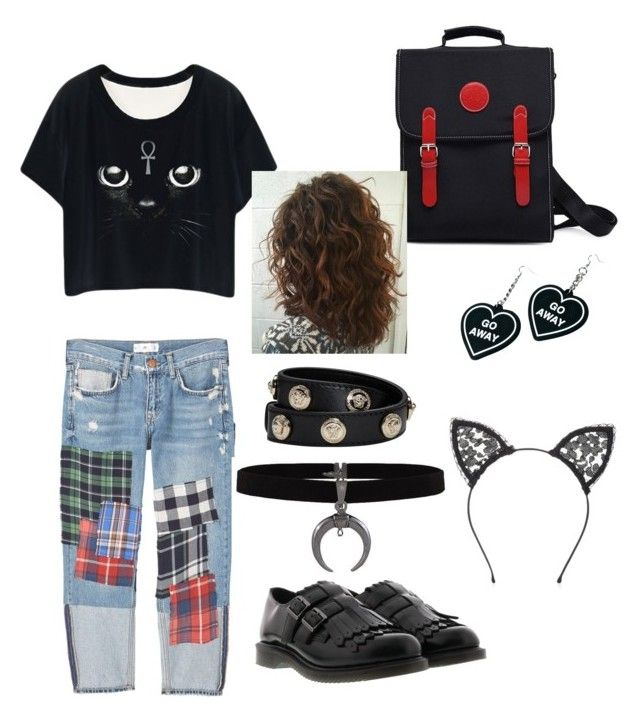 moon cat girl by magkulinska on Polyvore featuring polyvore fashion style MANGO Dr. Martens Versace Witch Worldwide Fleur du Mal clothing