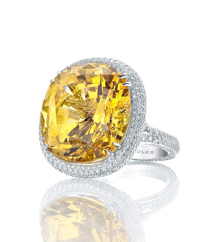 Yellow sapphire platinum #ring by BoodlesCut Diamonds, B Rings, Sapphire Rings, Cocktails Rings, Cocktail Rings, Platinum Rings, Sparkle, Ethereal Gem, Boodles