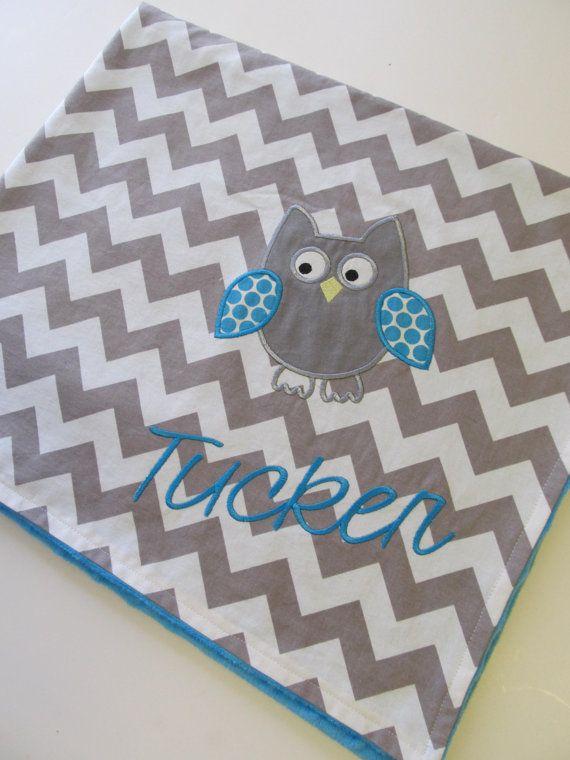 Personalized Baby Blanket 30x35 Aqua Minky by FunnyFarmCreations