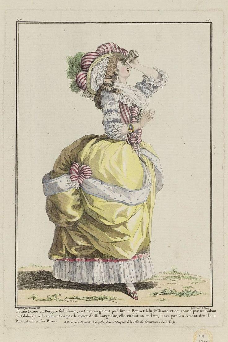 1784 Jeune Dame en Bergere séduisante, en Chapeau galant posé sur un Bonnet à la Païsanne et couronne par un Ruban au Globe, dans le moment où par le moïen de sa Lorgnette, elle en suit un en l'Air, lancé par son Amant dont le Portrait est a son Bras.