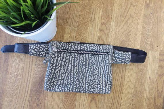 LEATHER Hip Bag BeltHip Purse Black grey waist bag by meandbags