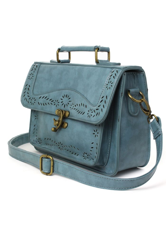 Blue Vintage Satchel Bag with Cut Out Detail - Retro, Indie and Unique Fashion