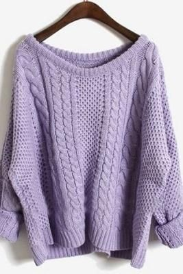 Purple Batwing Long Sleeve Pullovers Sweater