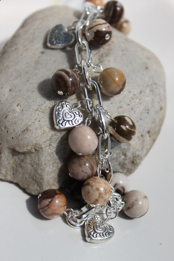 Chocolate Brown Zebra Jasper Gemstone/Silver by studiogracie