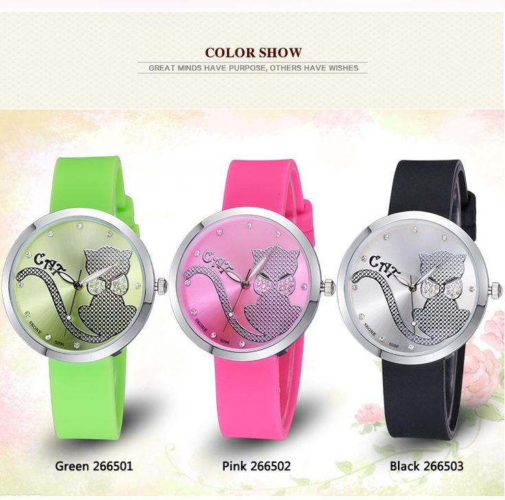 Hands Cute Bow Cartoon Cat Rhinestone Silicone Strap Watches Women Fashion Casual Sports Watch - free shipping worldwide