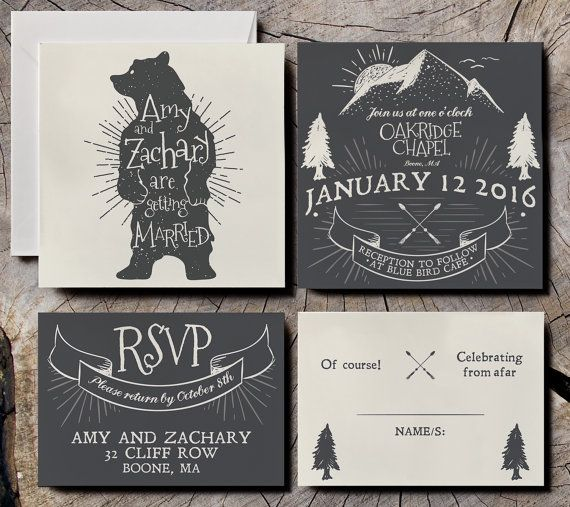 Looking for a rustic wedding invitation invitation, with bear and mountain design? Check out this listing! A B O U T x A unique design which