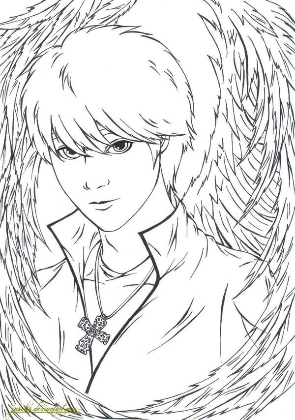 Coloring Pages of Anime Angels | Anime Angel Lineart...
