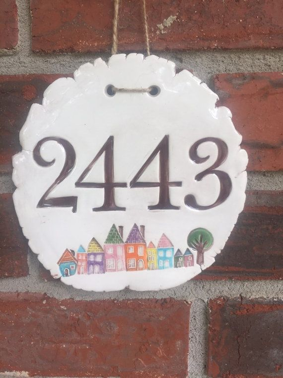 House Number Ceramic Plaque with Tiny Row Houses by thebrickkiln