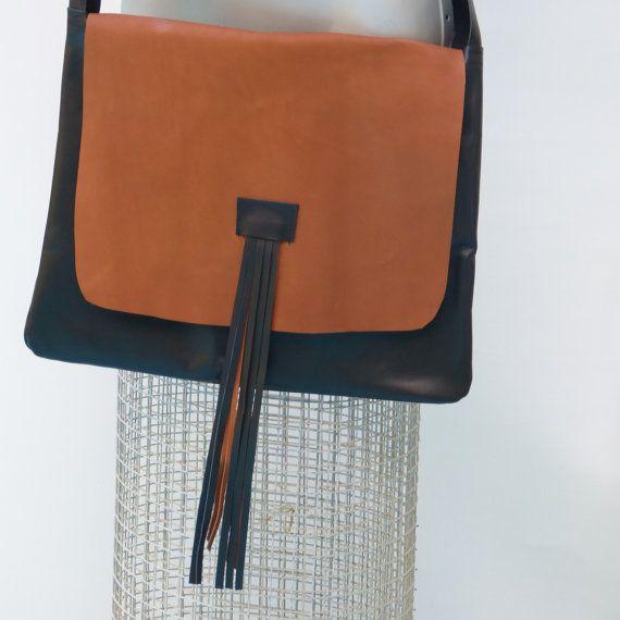 "Modern minimalist leather crossbody handbag, slouchy Shoulder purse, Black and dark honey tassel crossbody ""jUst oNe collection  @etsy"