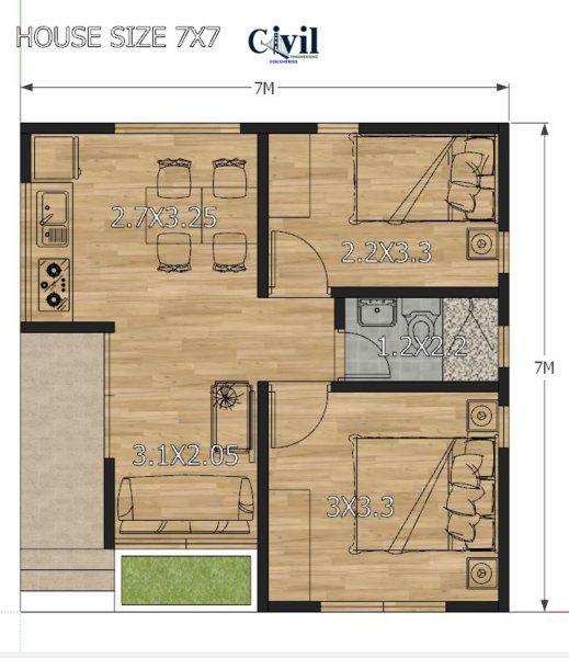 House Design Plans 7 7 With 2 Bedrooms Engineering Discoveries Planos De Casas Sencillas Planos De Casas Medidas Casa De Acero