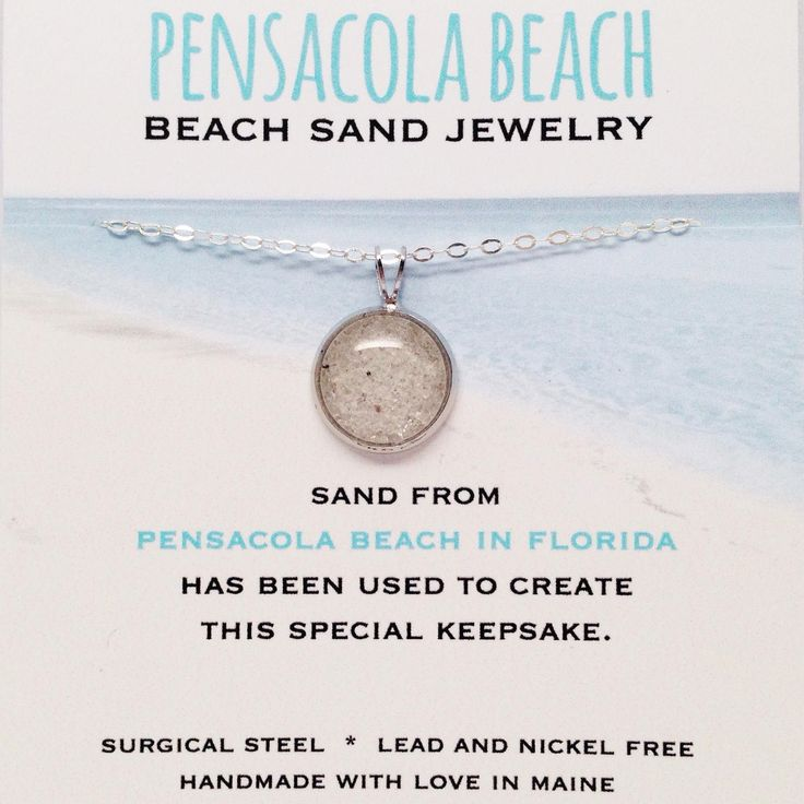 Pensacola Beach Sand Jewelry Pensacola Beach Sand has been used to create this sand jewelry and is a special keepsake. All of the metal is made from surgical steel which is lead and nickel free. The c