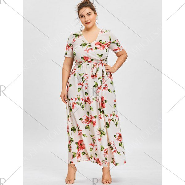 Plus Size Maxi Surplice Dress with Flower Print - 2xl Mobile
