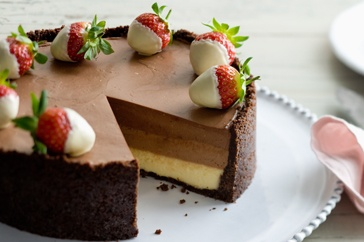 Triple chocolate cheesecake http://www.taste.com.au//recipes/29329/triple+chocolate+cheesecake