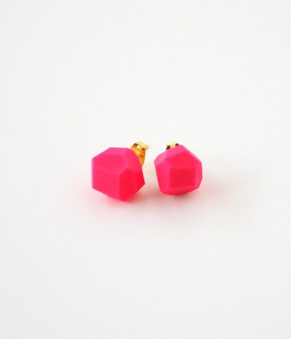 neon pink geo earrings