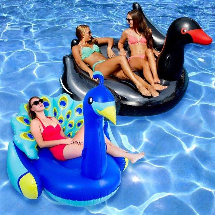 Inflatable Swimming Pool Float Combo 2 Pack Set Peacock Giraffe Bright Colors  #Swimline