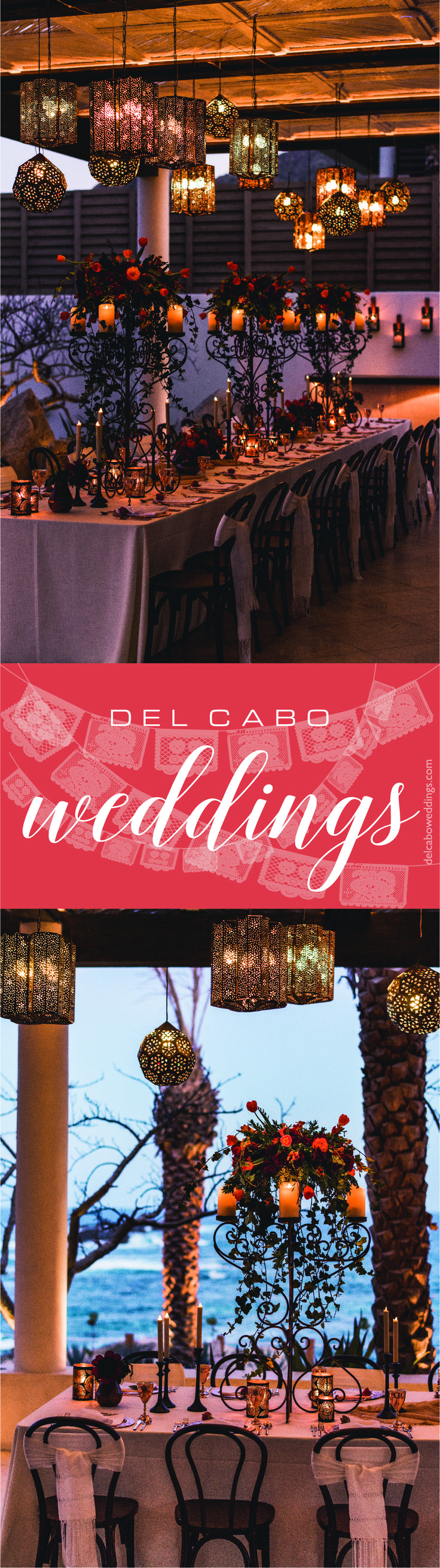 We LOVE this Mexican beach wedding reception! Del Cabo Weddings will help you plan your dream destination wedding in Cabo!  Click on the image and visit our website!