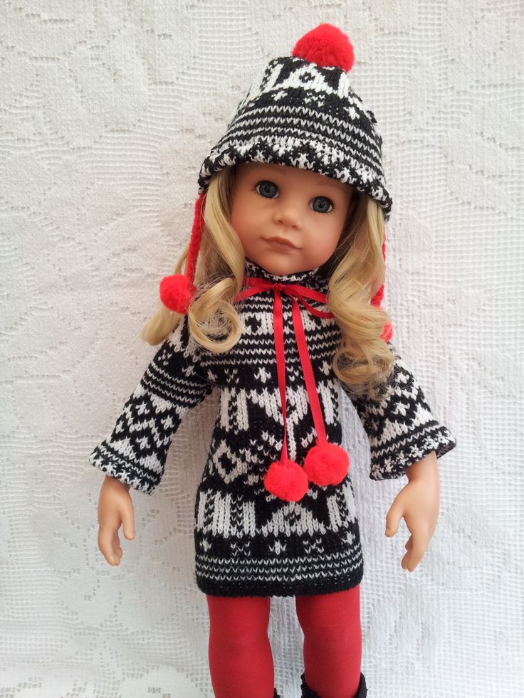 Fairisle style Knit Dress, Bobble Hat with pompoms and Tights.