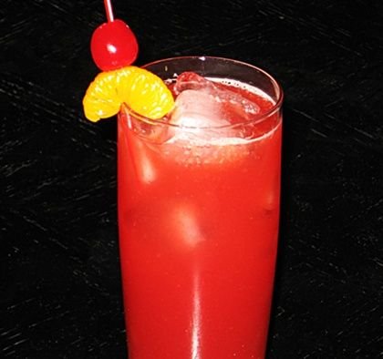 Death By Sex   .5 oz. Vodka .5 oz Peach Schnapps .5 oz. Amaretto .5 oz. Triple Sec .5 oz. Southern Comfort .5 oz. Sloe Gin 2 oz. Orange Juice 2 oz. Cranberry Juice. Cherry and/or any fruit to garnish