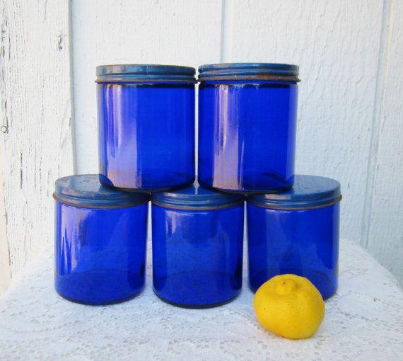 Vintage Cobalt Blue Glass Jars Rustic Home Or Wedding