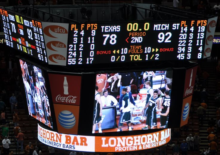 Score Board from the Texas/Michigan State Basketball Game