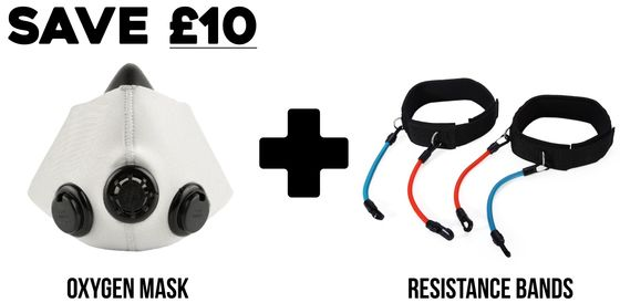 Image of Explosive Power Package Deal Oxygen Mask + Resistance Bands Endurance Leg Training Speed, Strength