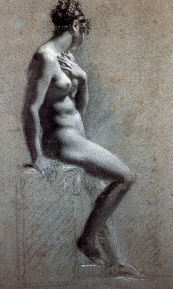 Seated Female Nude - Pierre-Paul Prud'hon, c. 1800