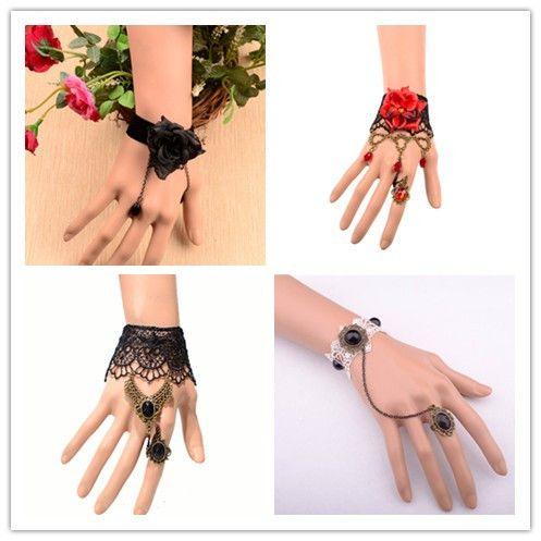 Прямая поставка кольцо браслеты горячие новые продукты для 2014 оптовая продажа винтаж вампиров лолита мода кружева браслет ювелирные изделия сток