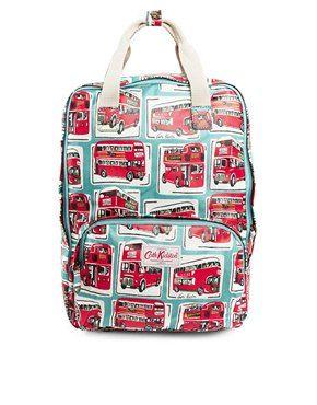 Cath+Kidston+Matt+Coated+Backpack+In+London+Buses+print