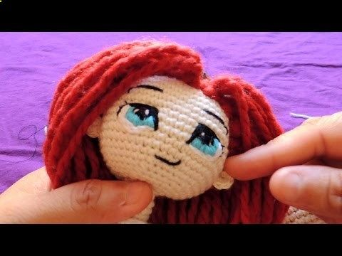 Embroidery eyes for crochet dolls