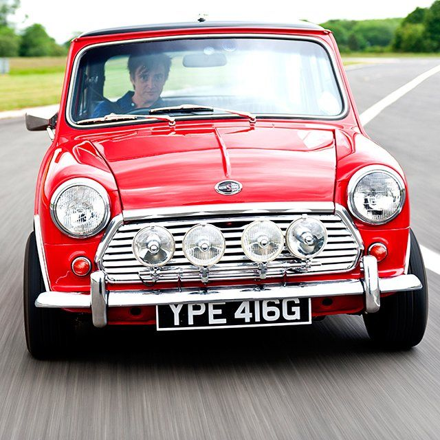 Mini, driven by Top Gear's Richard Hammond......I learnt to drive in a red mini :-)