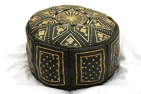 Moroccan Leather Pouffe Gold & Black by MotherEarthTreasure