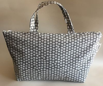Insulated lunch bag,Picnic Bag,Insulated School Bag,Grey & White Spotty Oilcloth  | eBay
