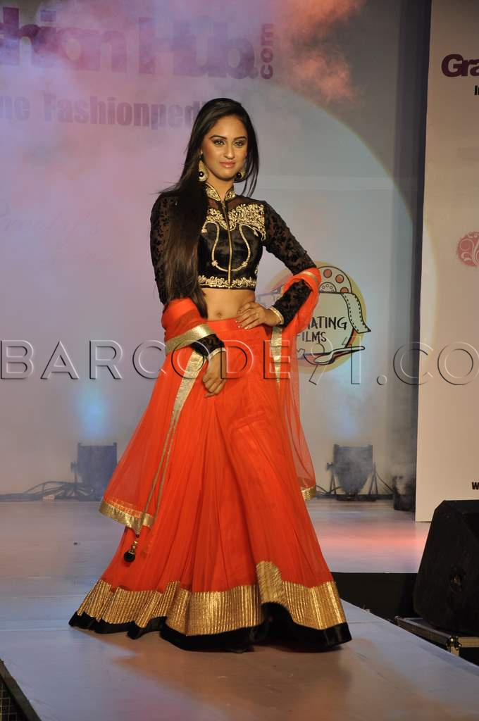 bright lehenga with contrasting long sleeve choli