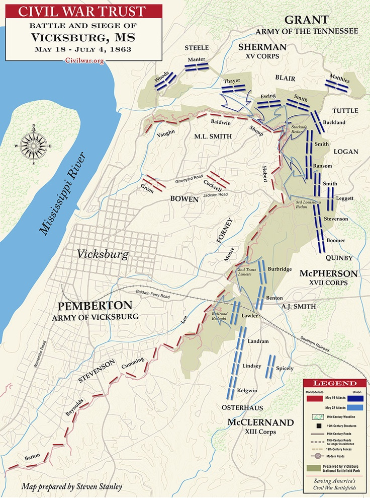 "The Battle of Vicksburg- Mississippi May 18 to July 4, 1863  This was the peak of a military campaign by the Union to have a key strategy to win the Civil War. President Lincoln stated the significance of the battle, ""Vicksburg is the key, the war can never be brought to a close until that key is in our pocket."" The Union needed to win this war because it would not let the Confederacy capture the land east of the Mississippi River. The battle ended with a Union victory."