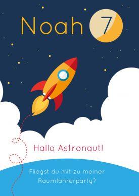 Lustige Einladungskarte zum Geburtstag für kleine Astronauten (7. Geburtstag) #Weltraum #Rakete #Astronaut #Kindergeburtstag #Geburtstag#Einladung #birthday #einladunggeburtstag.de