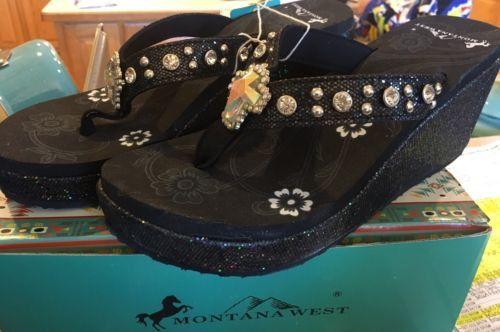 Women's Montana West Black Sparkly Flip Flops
